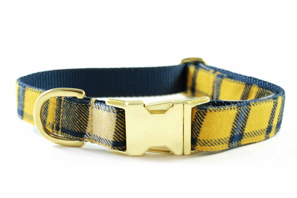 Yellow and Navy Plaid Collar