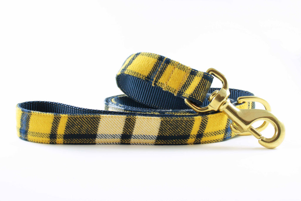 Yellow and Navy Plaid Leash