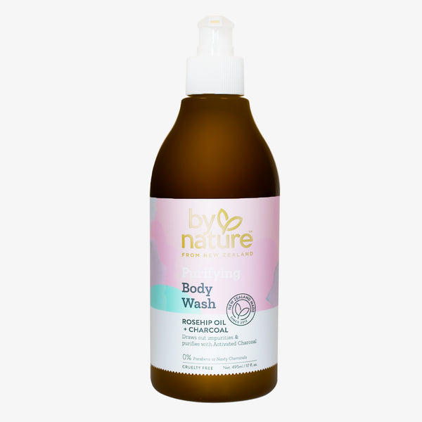 Purifying Body Wash with Rosehip Oil and Charcoal