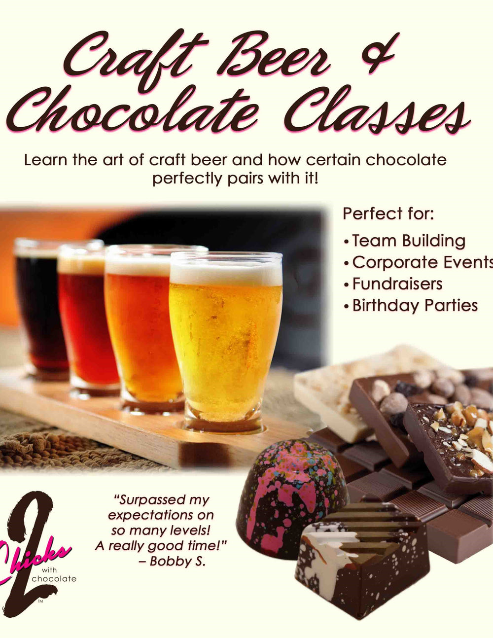 Craft Beer & Chocolate Class - 2 Chicks with Chocolate