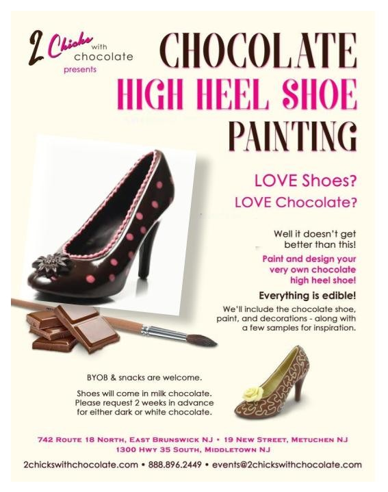 1d15f533679810 High Heel Painting Party – 2 Chicks with Chocolate