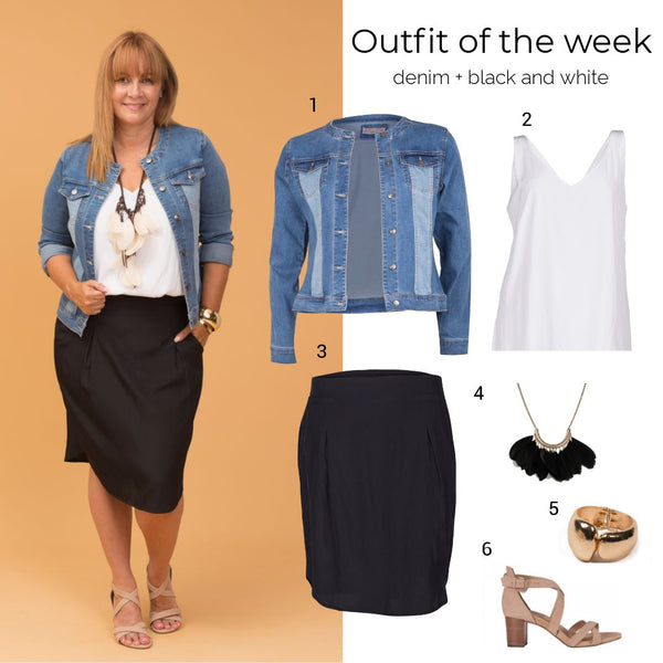 Outfit of the week: denim + black and white