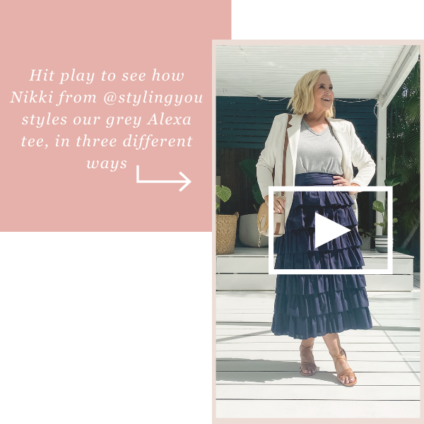 Hit play to see how Nikki from @stylingyou styles our grey Alexa tee, in three different ways
