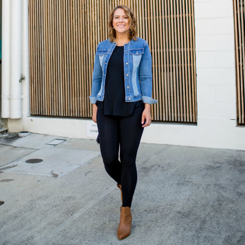 Bec Nolan from I love that skirt wearing our Anna leggings with our Jodie denim jacket