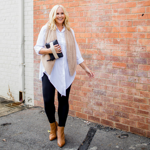 Nikki Parkinson wearing SYTL Anna leggings with Cate shirt and Jill fux fur gillet