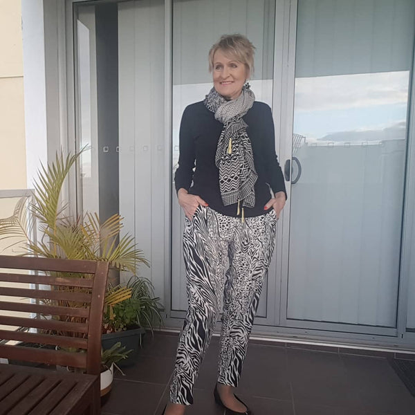 Barb wearing our Melissa casual pants in safari