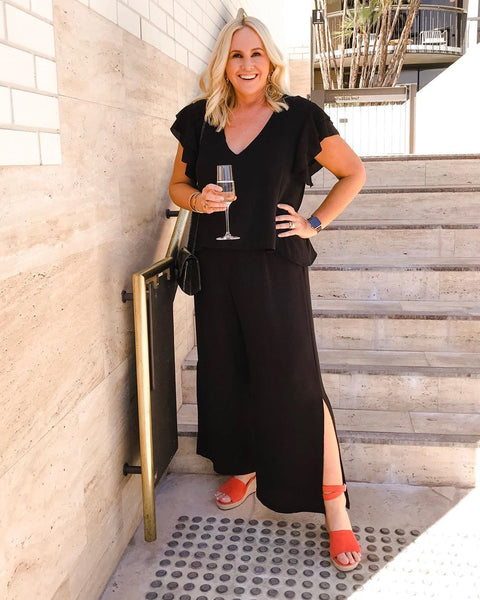 Photo of Nikki in our Barbara Jumpsuit