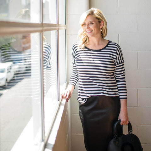 Brooke Falvey in our Carolyn stripe tee