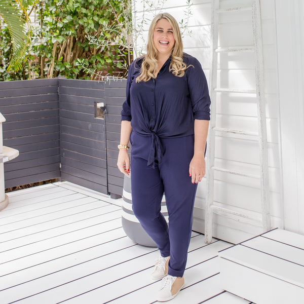 Jess in our Cate technical shirt - navy and our Suzie Ponte jogger pant - navy