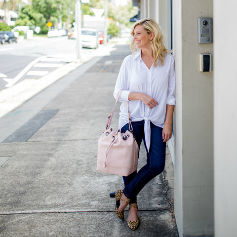 Brooke Falvey in Styling you the label work wear