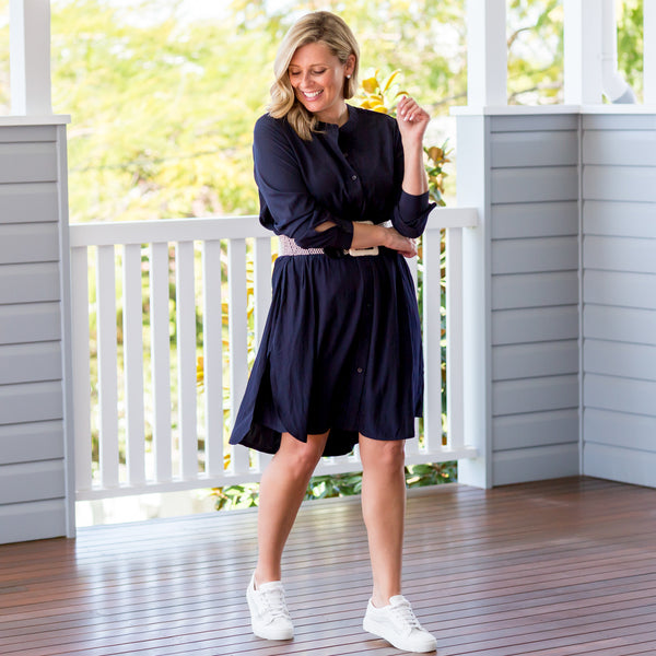 Brooke in our Danielle technical shirt dress navy