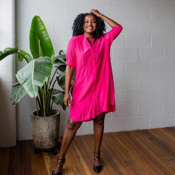 Sonia wearing our Danielle technical dress in raspberry