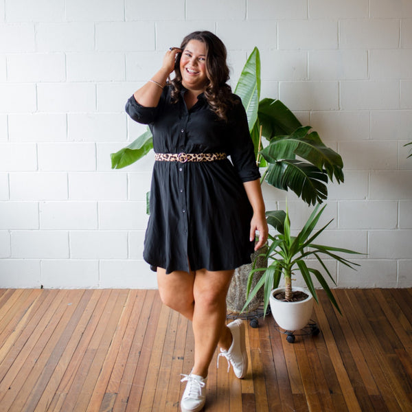 Stacey in our Danielle technical shirt dress black
