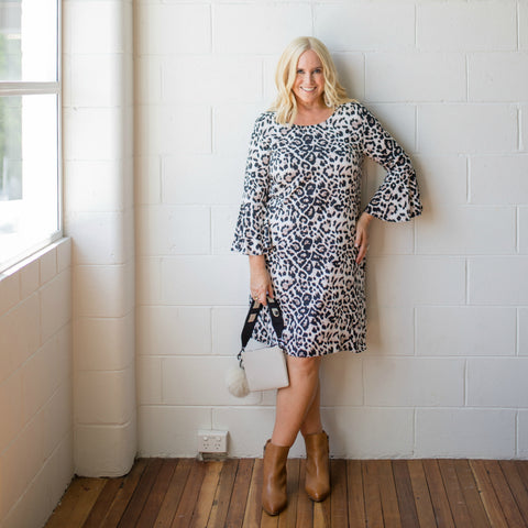 Nikki Parkinson wearing the Jane animal print dress