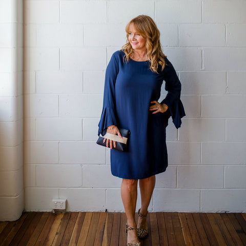 Karen styleloving2 wearing SYTL Janet navy bell sleeve dress