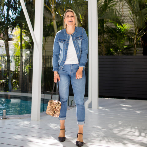 Bec in our Mid wash Jude jeans