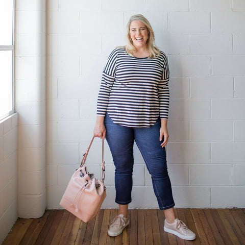 Jess heading in our Michelle blush and navy long sleeve stripe tee