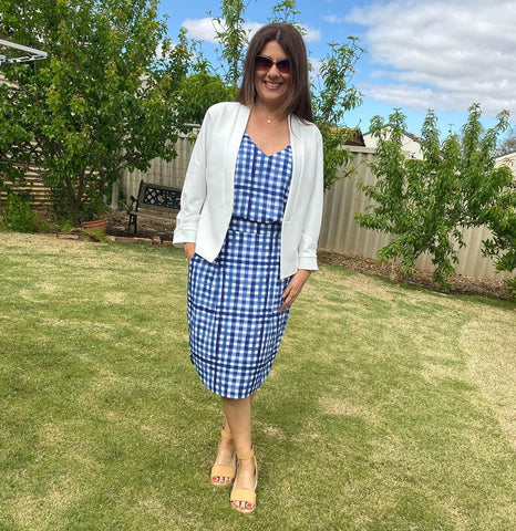 karen wearing our Katrina gingham skirt, Alex gingham cami and Karen jacket in ivory