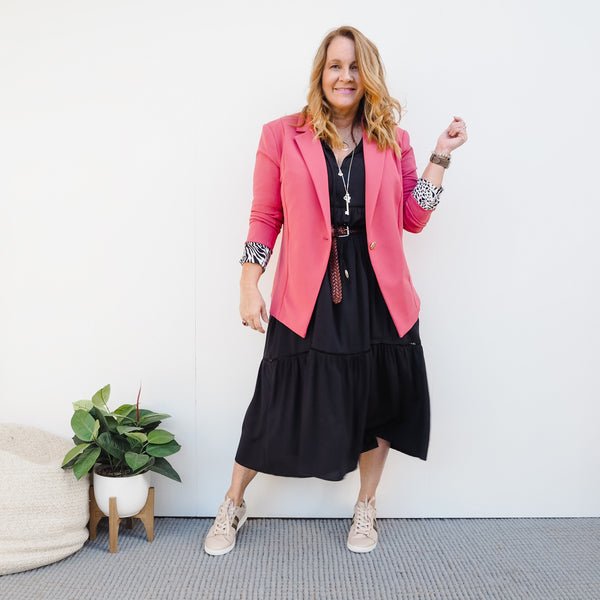 Karen wearing our Kerryn blazer in vintage rose over our Chantelle dress
