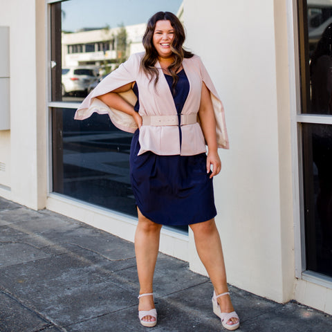 Stacey in our navy Amanda skirt, Kirsten cape blush and Nicole blouse navy