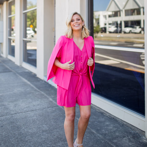 Brooke in our Paris Pink Kirsten cape and Raspberry technical basics