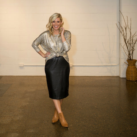 Brooke Falvey in the Lisa skirt and jen gold shimmer top SYTL