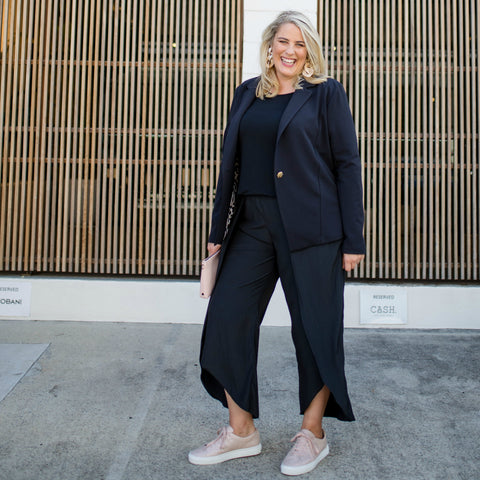 Jess in the Maria black pants and black boy-friend style Kerryn blazer