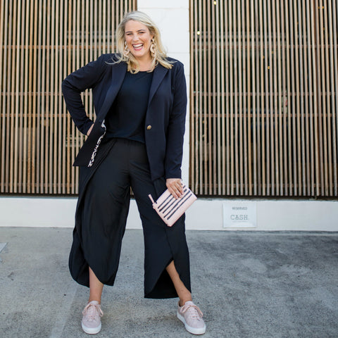 Jess heading in black Maria pants and Black Kerryn blazer