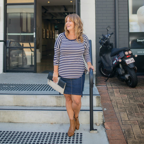 Karen in our Michelle BN long-sleeve stripe tee