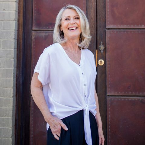 Kim Falvey wearing our Nicole blouse in white