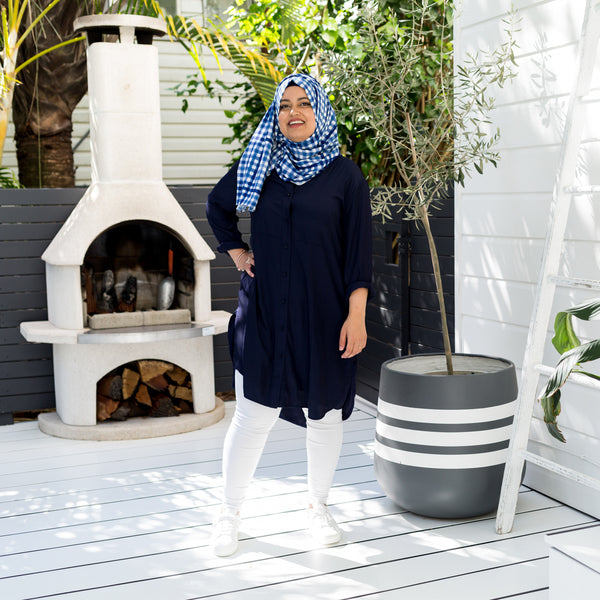 Faaiza in our Danielle Technical shirt dress and our Emily scarf/wrap gingham