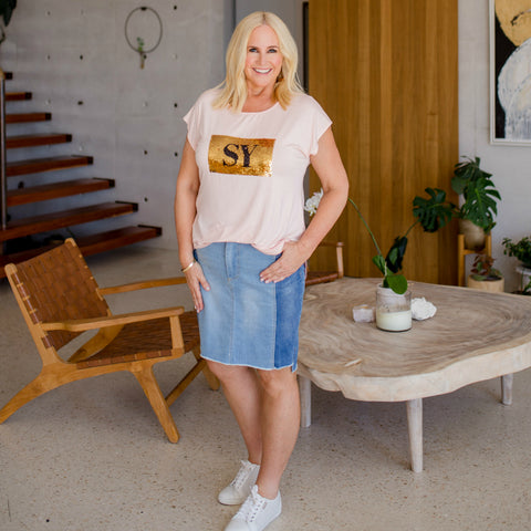 Nikki in the Beth denim skirt