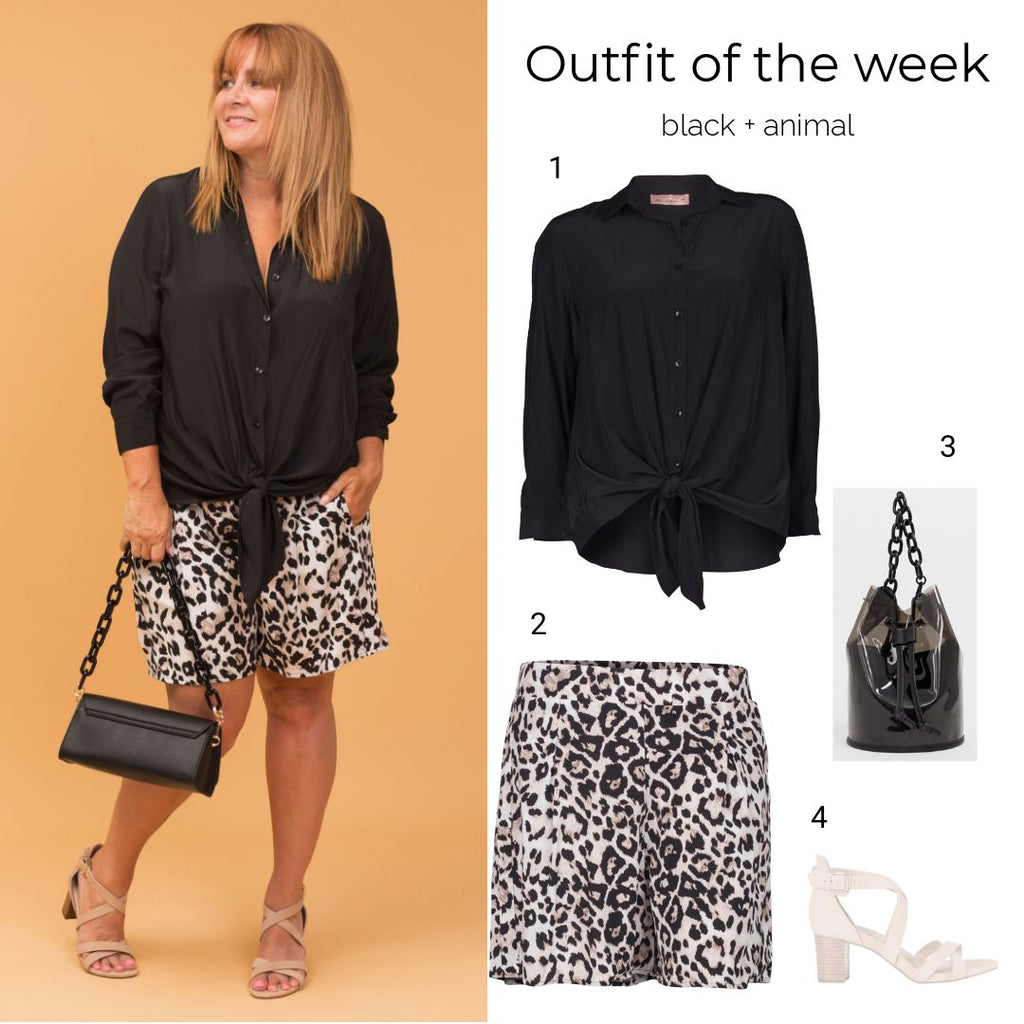 outfit of the week, black + animal,