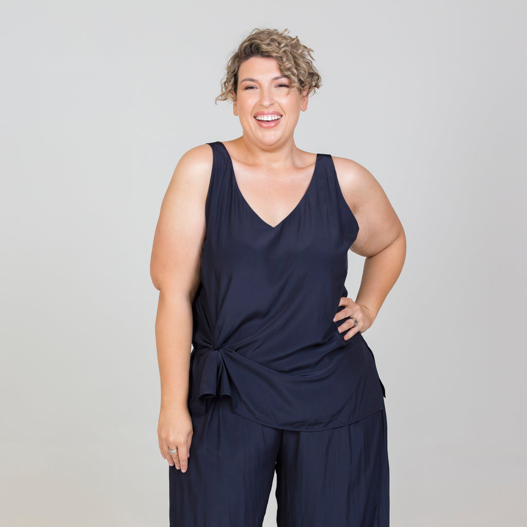 Jo wearing our Rachael technical cami navy
