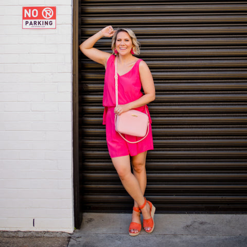 Bec wearing our Bec raspberry shorts and Rachael cami in raspberry