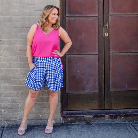 Karen in our Grace gingham shorts and Rachael raspberry cami