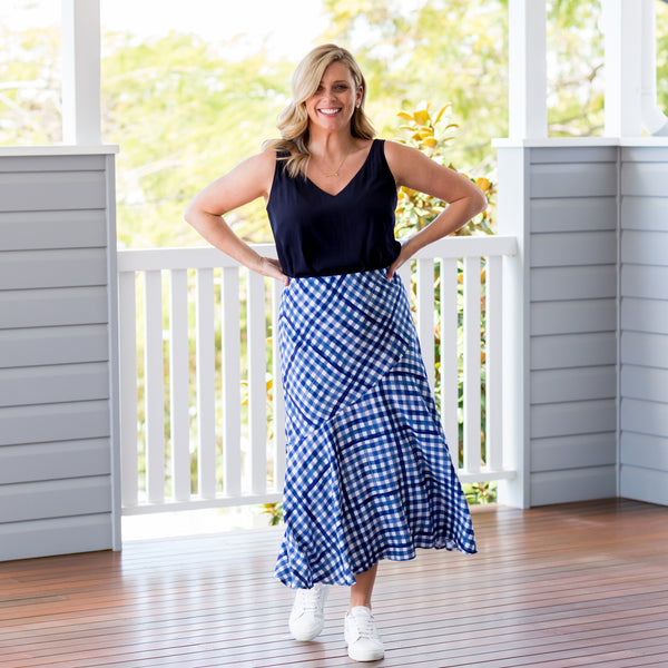 Brooke in our Ashlee gingham midi skirt and Rachel technical cami navy