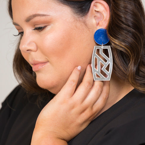 Stacey in our Gatsby Statement earrings