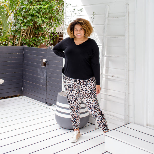 Asinate in our Sharon relaxed long-sleeve tee - black and our  Leanne joggy pant animal print