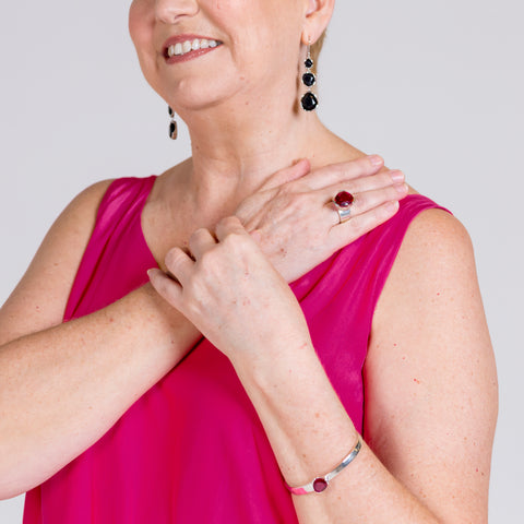 Susan wearing her customer set of UberKate Jewels.