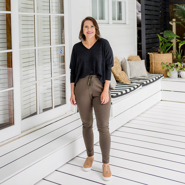 Bec in our Suzie ponte jogger pant - khaki and our Jenny light swing knit - black