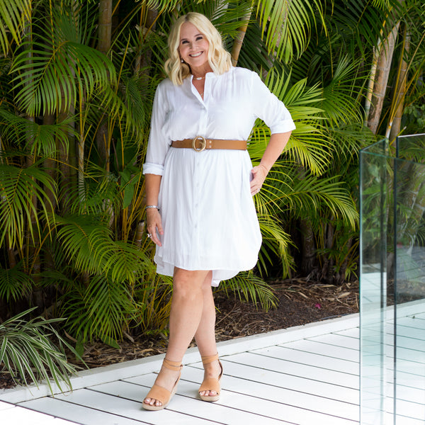 Nikki in our Danielle technical shirt dress white