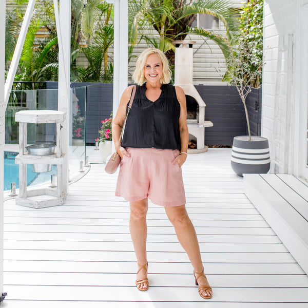 Nikki in our Stevie blouse and our Nadia linen shorts