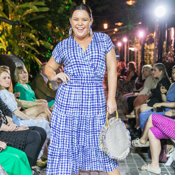 Stace Mcgregs at Brisbane Fashion Month in 2019, wearing our Shelley gingham dress