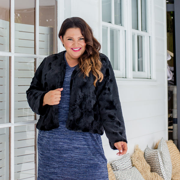 Stacey in our Renee faux fur jacket - black
