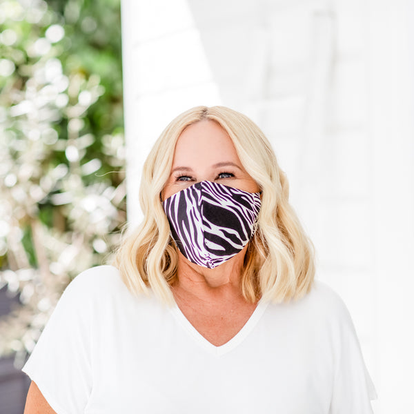 Nikki wearing our Safari Print face mask