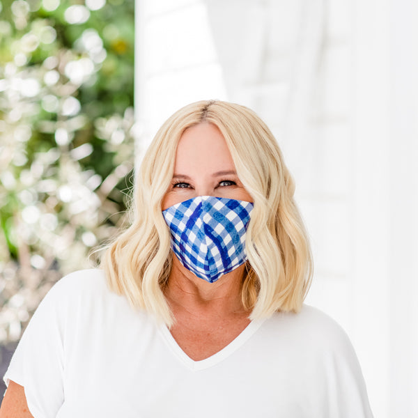 Nikki wearing our Gingham print face mask