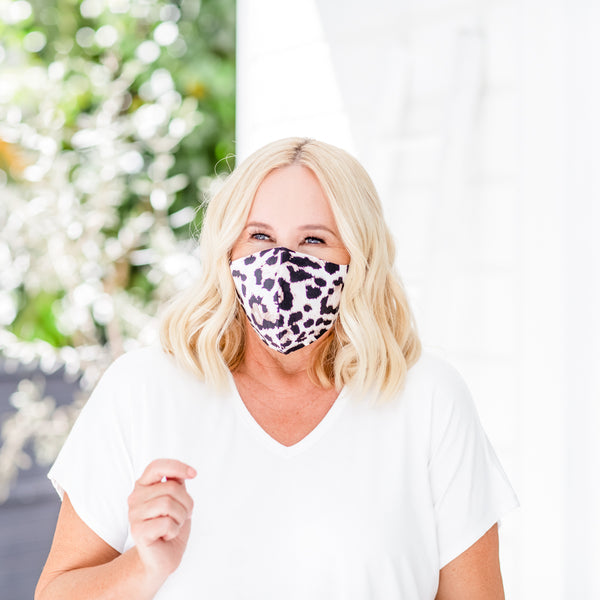 Nikki wearing our Animal Print Face mask