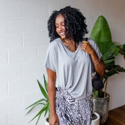 Alexa relaxed tee in grey, tucked into Jessinta cropped pant safari (black and white).
