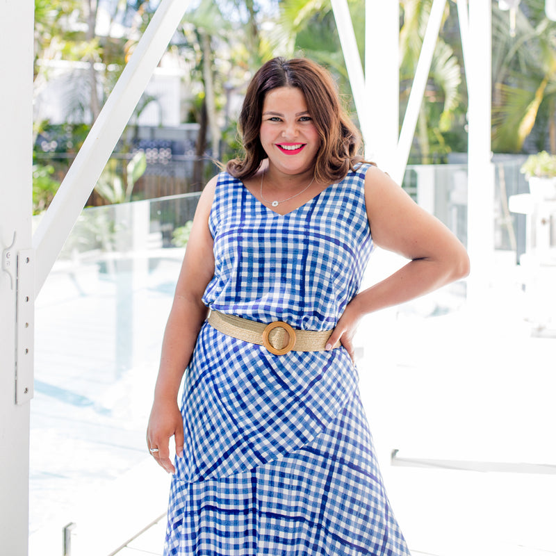 Stacey in our Alexa Cami gingham, our Ashlee midi skirt gingham, paired with a brown belt